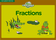 1st grade fractions online math crocodile board game